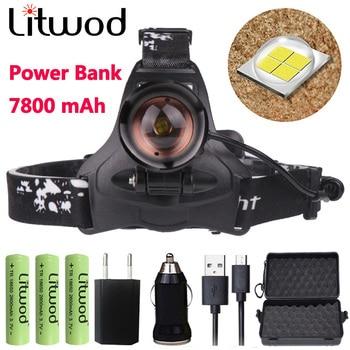 Z22 Litwod 2806 32 Вт чип XHP70 мощный фара 32000lum высокая мощность светодиодный налобный фонарь фонарик Фонарь zoom head light