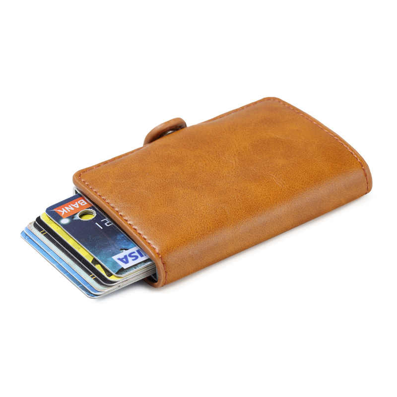 RFID Business Card Holder Aluminium Box Vintage PU Leather Automatic Pop Up Antimagnetic Metal Credit ID Card Holder Card Case