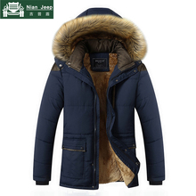 Plus Size M-5XL Casual Warm Parkas Men Fur Collar Hooded Men Winter Ja