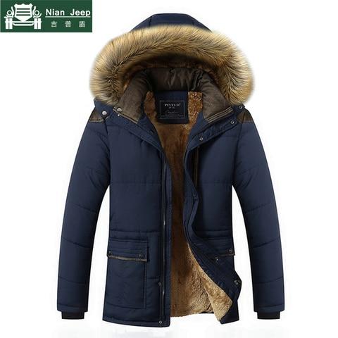 Plus Size M-5XL Casual Warm Parkas Men Fur Collar Hooded Men Winter Jacket Wool Liner Windproof Parkas Outwear Hombre Invierno Pakistan