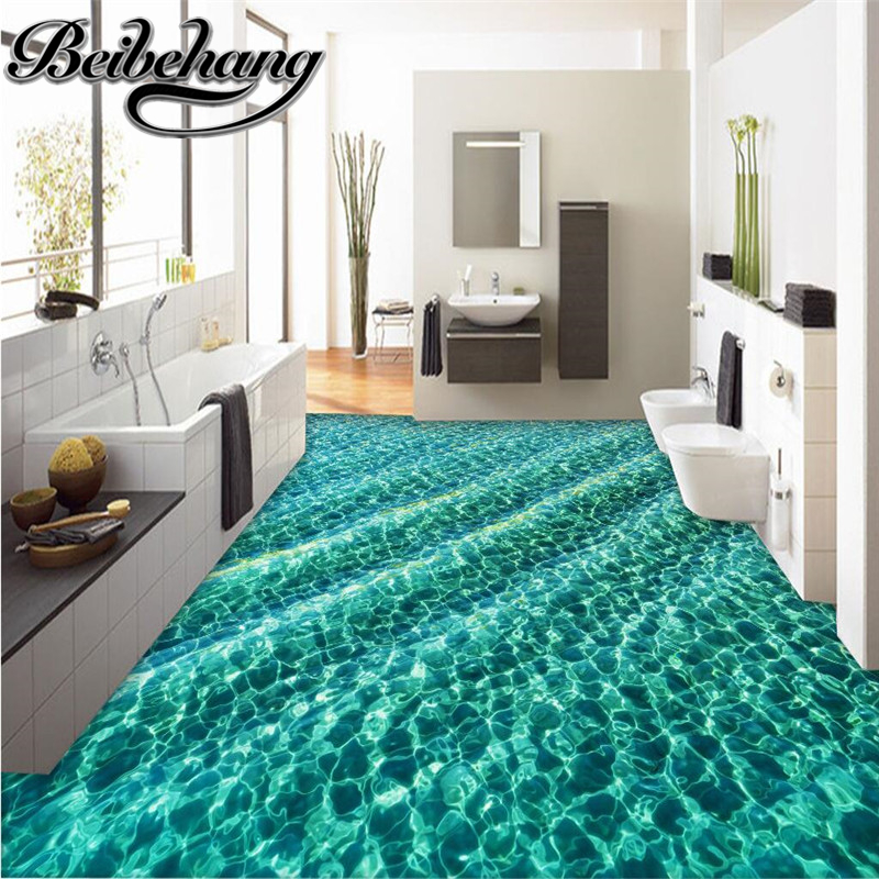 beibehang Custom flooring modern green water ripple waterproof non-slip thickening kitchen Self-adhesive PVC floor 3d wallpapers beibehang 3d mural flooring pvc adhesive paper fish non slip waterproof thickening self adhesive fresco floor fototapete 3d