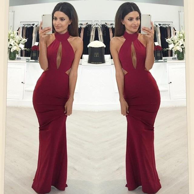 2017Super Sexy Hot! Cheap Evening Dress Prom Dress Mermaid Burgundy Wine  Red Satin Cutout Backless Long Satin Evening Dresses 16c16b933542