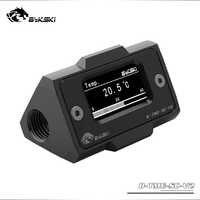 Pantalla Digital OLED Bykski, medidor de temperatura del agua, sistema enfriador de agua, doble G1/4 '', termómetro, ajuste de sensor de temperatura