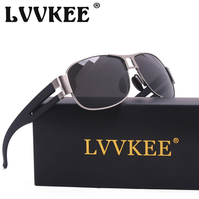 LVVKEE High quality Polarized sunglasses men's fashion metal frame Driving Sun Glasses leisure Outdoor Sport eyeglasses Male