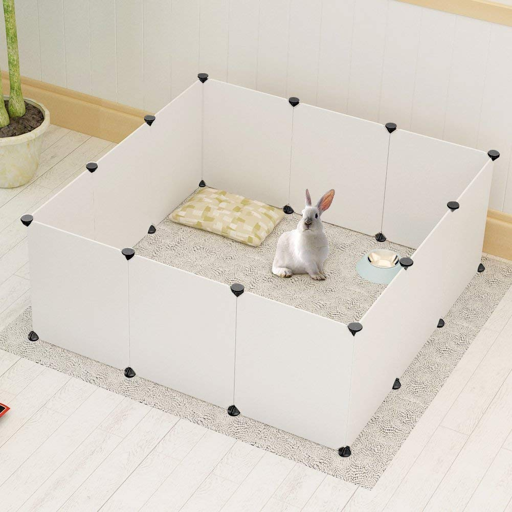 Expandable Small Animals plastic Playpen Cage Kennel for Bunny Guinea Pig Rabbit Puppy, Indoor & Outdoor