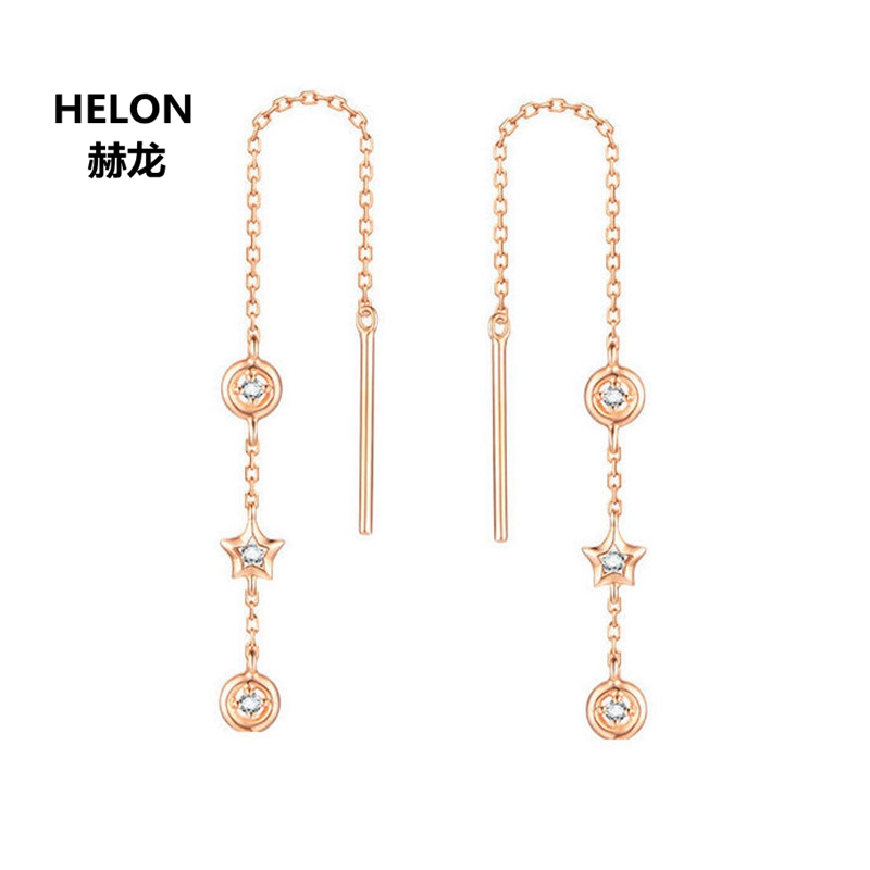 Women Natural Diamonds Drop Earrings Solid 18k Rose Gold Engagement Wedding Earrings Fine Jewelry Gift yoursfs 18k rose gold plated tiny huggies hoop earrings dense cz huggie earrings for women crystaldust ear jewelry gift