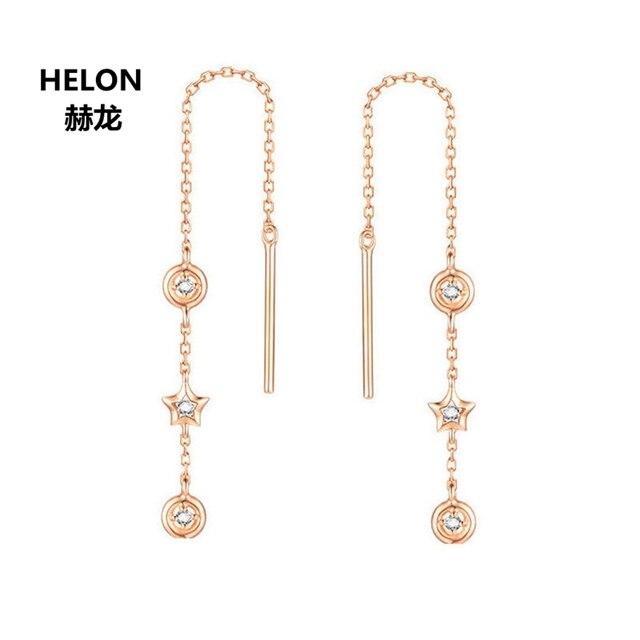 Women Natural Diamonds Drop Earrings Solid 18k Rose Gold Engagement Wedding Earrings Fine Jewelry Gift