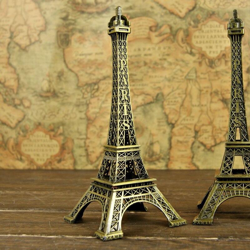 18 cm Bronze Tone Romantic Paris Eiffel Tower Figurine Statue Antique Article Vintage Home/Pub/Office Decoration