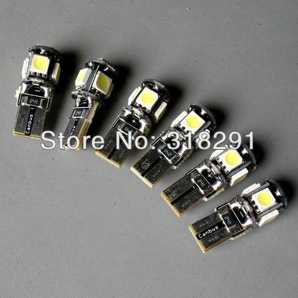 Wholesale 50pcs/Lot Canbus T10 5smd 5050  LED car  Light + Canbus NO OBC ERROR White12v