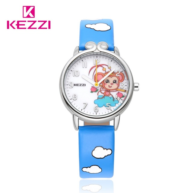 Kezzi Brand Kids Children Watches Cute Cartoon Monkey King Quartz Analog Leather Strap Wrist Watch Boys Girls Waterproof K1558