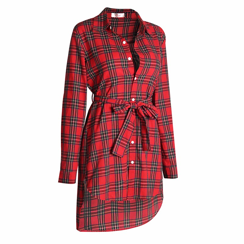 2017 dress kobiety nieregularne plaid shirt sukienki sexy długim rękawem turn down collar urząd casual dress lj5932c 9
