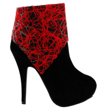 LF30309BK  Elegant Red Grey Black Abstract Lines Print Zip Platform High Heel Stiletto Boot