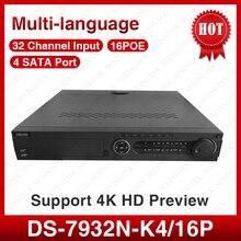 ХИК многоязычная DS-7932N-K4/16 P 32 Канала, H265, с 4 К резолюции 4 интерфейс SATA NVR для CCTV Камеры
