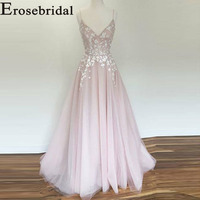 Erosebridal New Arrival 2019 V neck Long Evening Dresses Tulle Applique Evening Gown Pink Party Dress