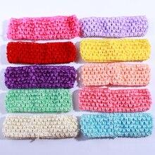 120 pcs 4 cm Moda Crochet Elastic Band Para Cabelo Acessórios Oco out Knit Headband Para Hairband Cabeça Desgaste