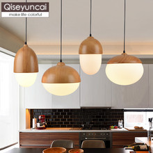 Qiseyuncai Nordic modern minimalist creative nut chandelier personality restaurant bar three Glass light fixture free shipping