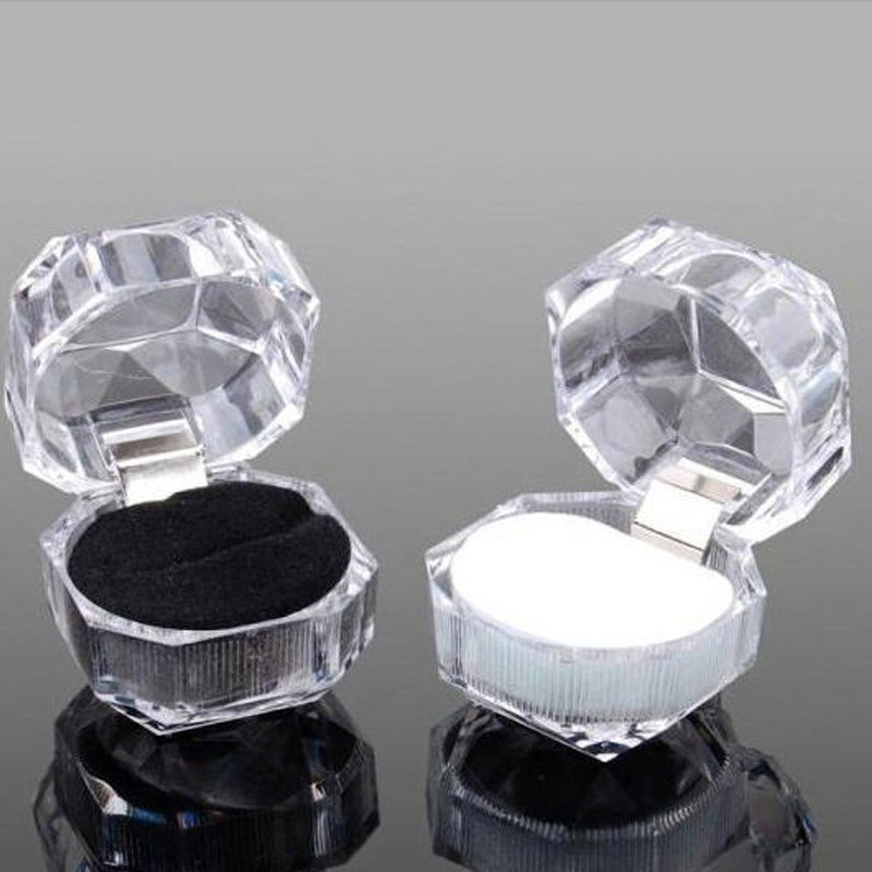 Jewery Organizer Box Rings/Earrings Storage Small Gift Box DIY craft Display Case Package Wedding/etc Acrylic Transparent wh