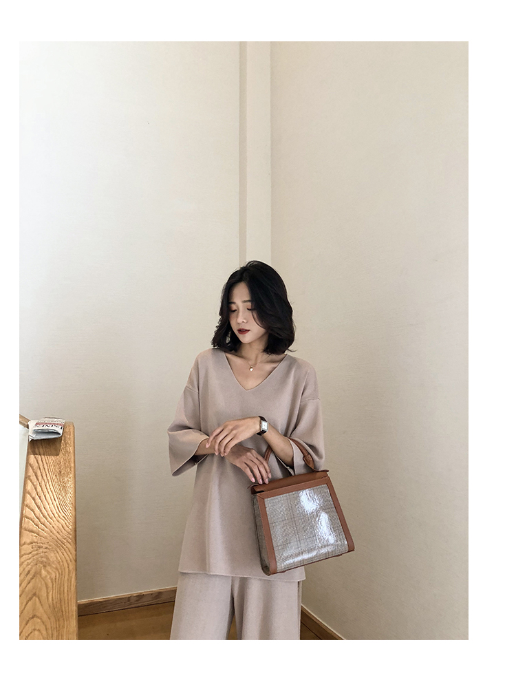Knitting Female Sweater Pantsuit For Women Two Piece Set Knitted Pullover V-neck Long Sleeve Bandage Top Wide Leg Pants  Suit 23