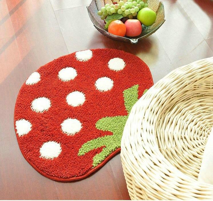 NiceRug 3D rouge fraise forme doux lisse tapis Flexible tapis tapis pour enfant plancher salon salle de bains petits tapis maison Decoratio