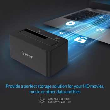 """ORICO HDD Case SATA to USB 3.0 Hard Drive Docking Station 5Gbps Super Speed for 2.5\'\'/ 3.5\"""" SSD HDD With 12V Power Adapter"""