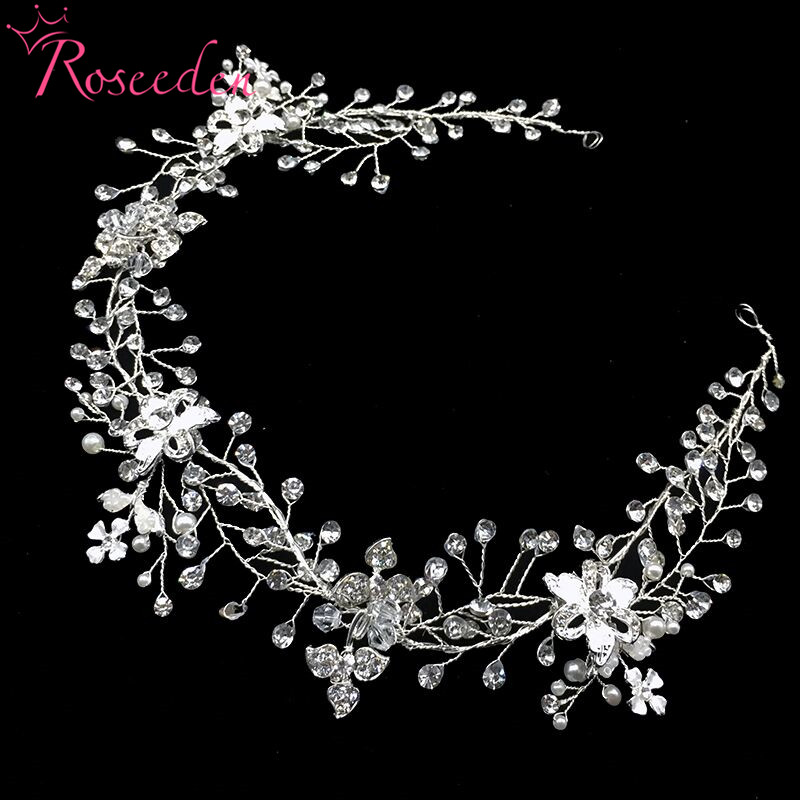 Delicate Pearl Rhinestone bride Headband hairvine handmade Bridal Wedding Hair Piece Accessories Jewelry drop shipping RE730 pure handmade bride wedding hair accessory head piece 2 piece set hanfu costume xiu he fu wedding use hair jewelry page 5