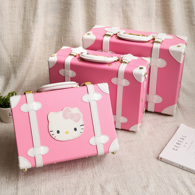 Cartoon child luggage bag cosmetic box mini suitcase female small box vintage small suitcase,13 14 15inches suitcase 12 inch pu leather small suitcase floral decorative box with straps for women