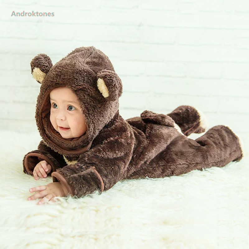 48ae1936c Winter Onesie Bear Lion Animal Baby Girl Boy Clothes Christmas Clothing  Kids Romper Cosplay Pajamas Children
