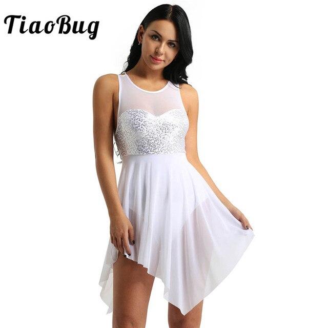 TiaoBug trajes de baile lírico de lentejuelas para mujer, malla asimétrica, tutú de Ballet, vestido de baile, gimnasia para adultos, leotardo
