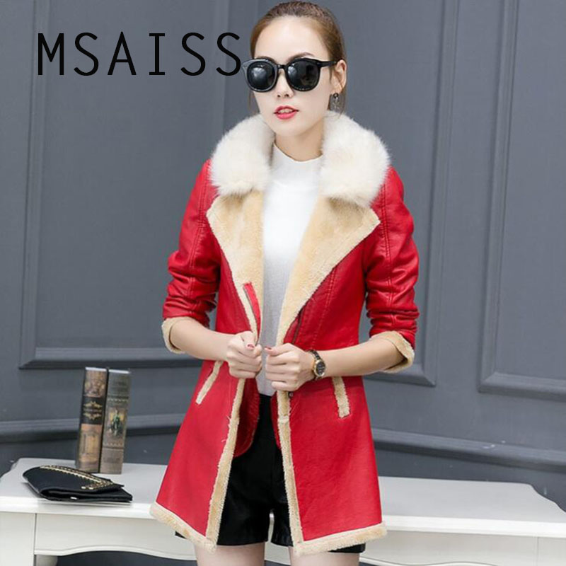 MSAISS Winter   Leather   Jacket Women   Suede   Coat Female Winter Long Sleeve Faux   Leather   Coat Motorcycle Fur Jacket