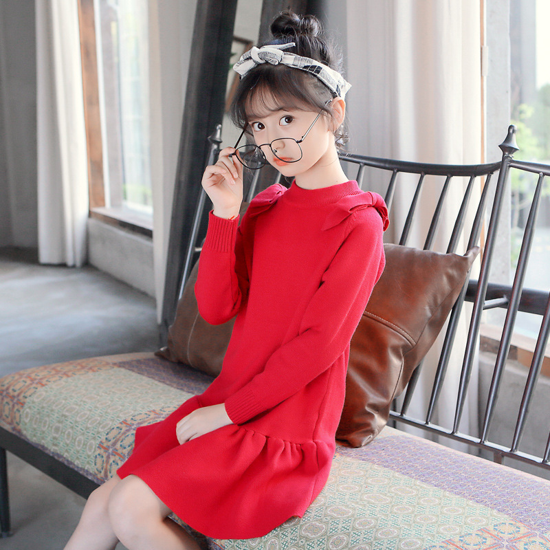 Elegant Girls Autumn Winter Sweater Dress 4 6 8 10 12 to 14 Years Long Sleeve O-neck Red Dresses Kids Girl Christmas Dress 56A2A