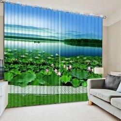Zasłony zasłony salon okno liści lotosu domu dekoracje okienne zasłony do salonu sypialnia dekoracji domu