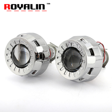 ROYALIN Car Styling 1.8 HID Bi xenon Headlight Projector Lens Metal W/ Mini Gatling Gun Shroud For Motorcycle H1 H7 H4 Retrofit