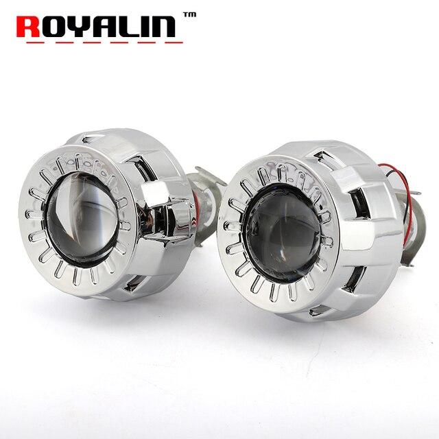 Best Price ROYALIN Car Styling 1.8 HID Bi xenon Headlight Projector Lens Metal W/ Mini Gatling Gun Shroud For Motorcycle H1 H7 H4 Retrofit