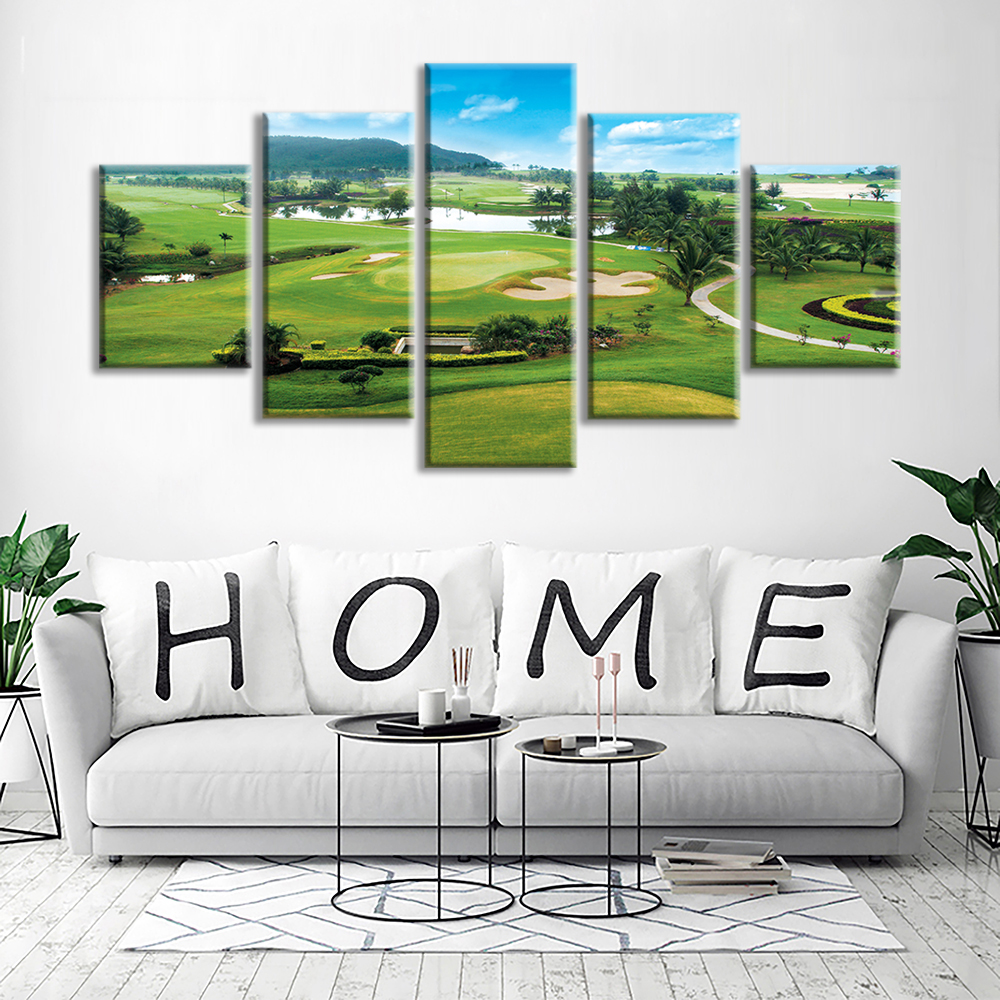 Clearance Miles Golf Course 5 Panels Stretched And Framed Contemporary  Abstract Paintings On Canvas Wall Art Part 71
