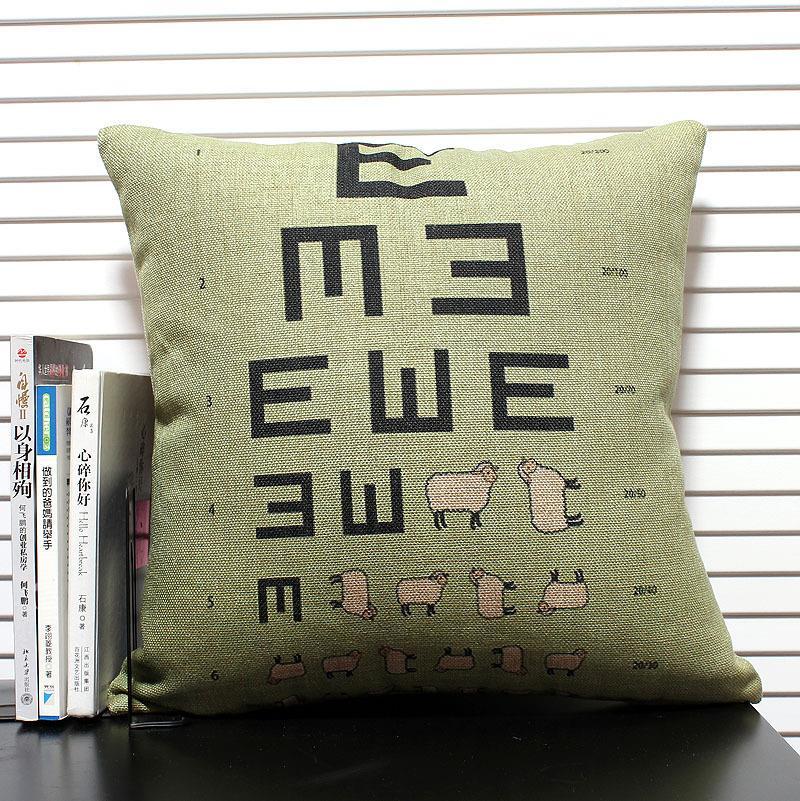 Creative  Sheep Eye Chart Pillow ,cartoon Sheep Cushion Linen Pillowcase Office Home Decor Sofa Cushions