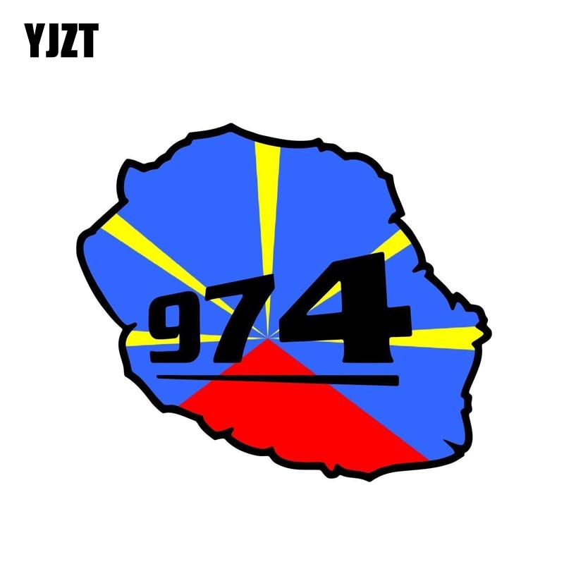 YJZT 12.2CM*10.5CM Accessories Reunion Island 974 Flag Map Car Sticker Motorcycle Helmet Decal 6-1275