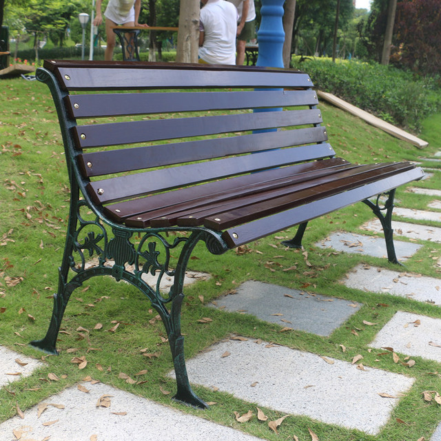 Outdoor Lounge Chair Wood Preservative Outdoor Bench Seat Park Iron Three Double
