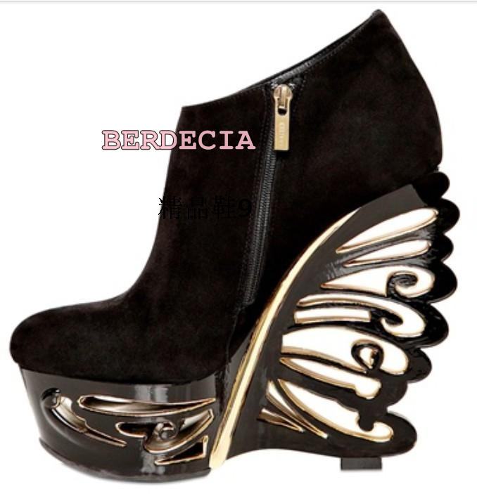 Unique hollow out butterfly wedge heel boots shallow cut black round toe platform boots female banquet party shoes