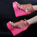 Women Shoes Summer Fashion Pumps Peep Toe Wedge Heels Platform Pink Pumps with Chains EU34-43 Plus Size Shoes