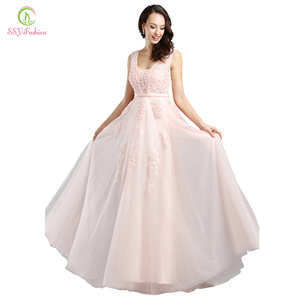 Image 4 - Женское вечернее платье SSYFashion, пикантное Длинное Зеленое кружевное платье с открытой спиной и V образным вырезом, элегантное бальное платье для свадебных торжеств и вечеринок