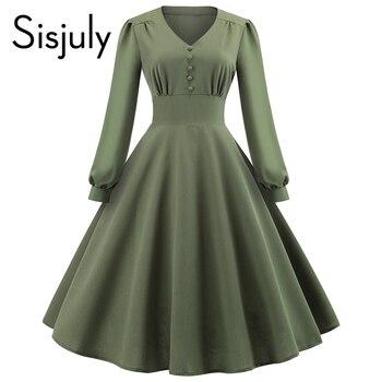 Sisjuly для женщин платья для Винтаж элегантный дизайн элегантный хлопок плотная Плиссированные Лоскутная Кнопка Женская мода повседневное