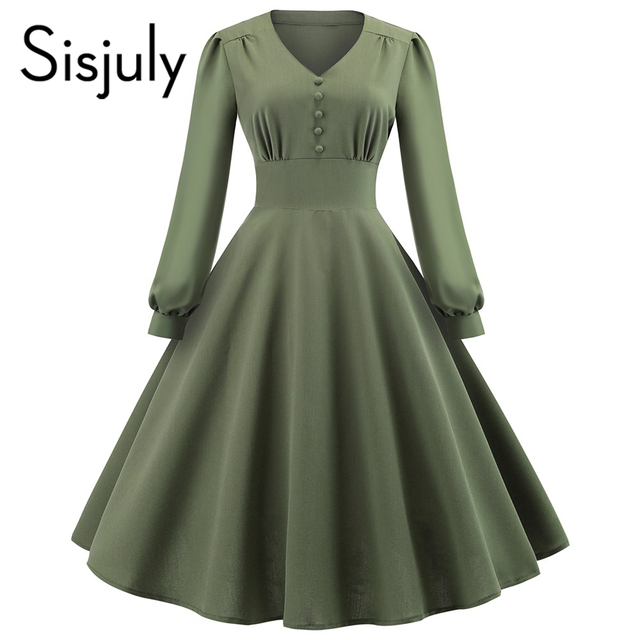 Sisjuly Women Dresses Vintage Preppy Style Elegant Cotton Plain Pleated Patchwork Button Female Fashion Casual Party Dress