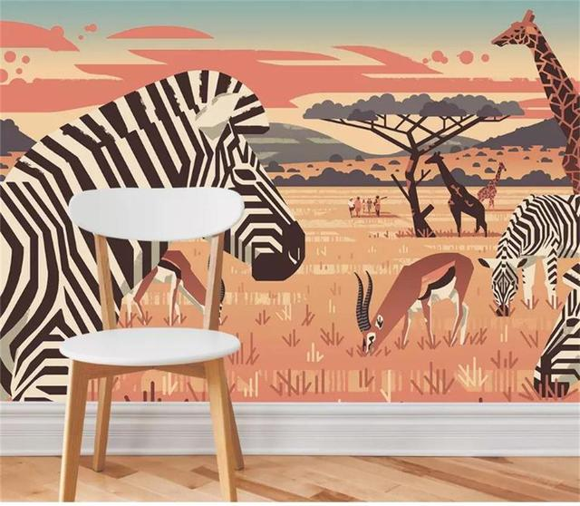 Фотообои на заказ 3d фотообои ручная роспись пейзаж саванны гостиная декоративная картина для дома 3d настенные фрески обои для стен 3d