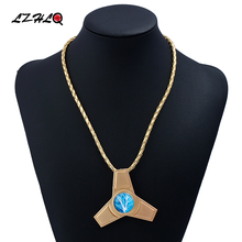 LZHLQ Three Leaves Gyro Choker Statement Necklace Women 3Colors Zinc Alloy Leather Rope Necklaces Pendants Trendy Collares