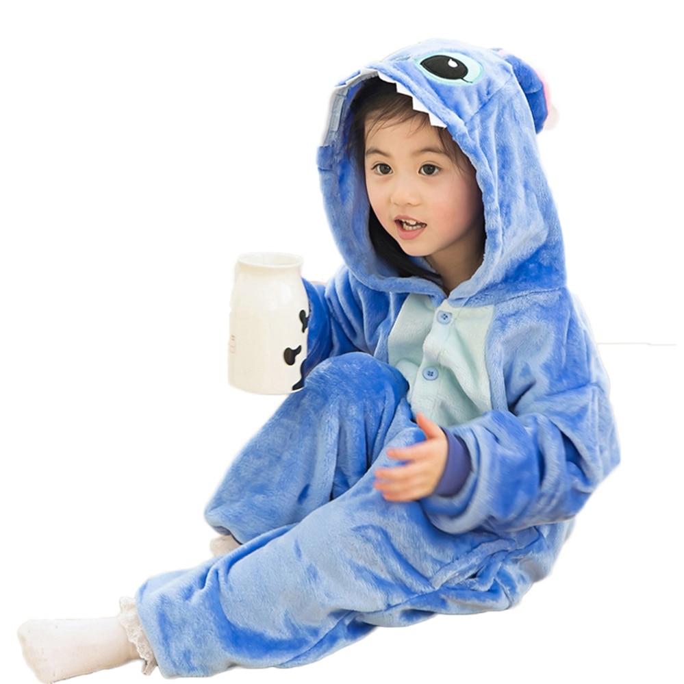 Winter Baby Boys Girls pajama Children christmas Flannel Stitch Animal Pajamas Kid Pajama sets Onesies for Kids 4 6 8 10 12 Year