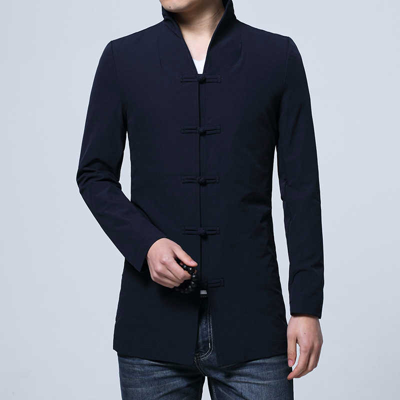 1c5367309c0 Spring Autumn Chinese Style Retro Stand-collar Men s Long Sleeve Jackets  2XL Blue Black Fashion