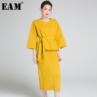 EAM 2017 Autumn Winter New Fashion Knitting Solid Color Sweater Suit Camisole Sling Dress Two