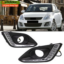 eeMrke High Power LED DRL For Suzuki Swift 2014 2015 White DRL Fog Cover Daytime Running Lights Kits