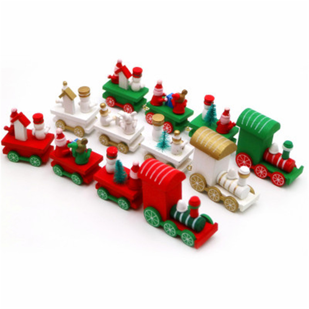 New Year Cute Christmas Little Wooden Train Santa Tree