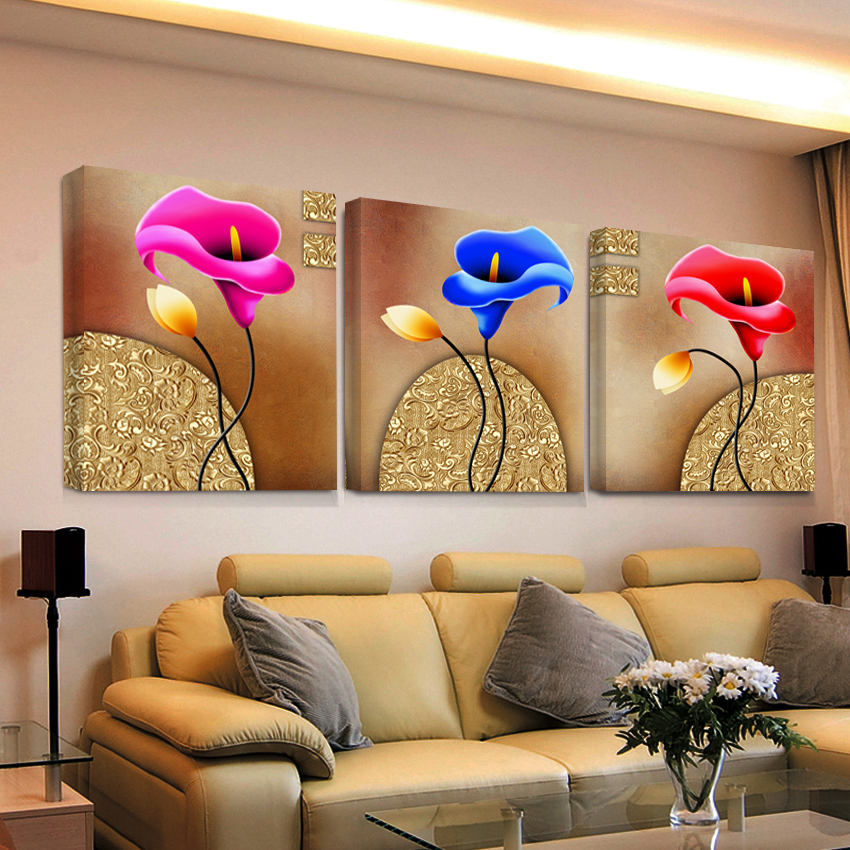 abstract oil modular triptych painting 3 panel wall art hd ...